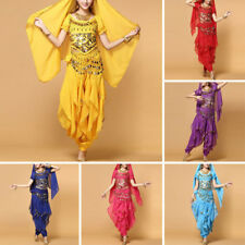 Sexy Belly Dance Costume Set Bollywood Top Gold Wavy Harem Pants Belt Party Sets