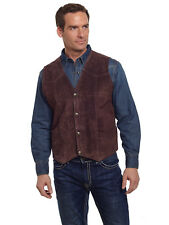 Cripple Creek Mens Chocolate Boar Suede Leather Western Snap Front Vest