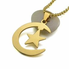 Women Stainless Steel Solid Pattern Silver And Gold Plated Pendant With Necklace