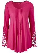 Together ladies top tunic plus size 16 20 24 lace sleeves pintucks blouse cerise