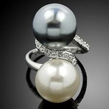 Women New Pearl Crystals Beads Decorative Design Silver Plated Ring