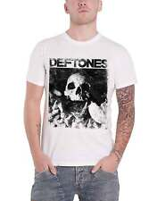 Deftones T Shirt Skull Band Logo distressed new Official Mens White