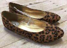 Girls Stevies Brown Leopard Animal Print Ballet Flats Slip On Shoes Sizes 1 2
