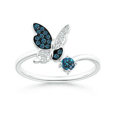 Pave Set Round Enhanced Blue Diamond Butterfly Ring 14k White Gold Size 3-13
