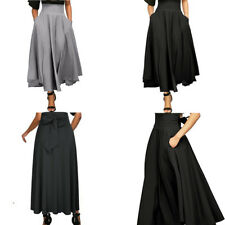Womens High Waist Pleated Solid A Line Long Skirt Front Slit Belted Maxi Skirt