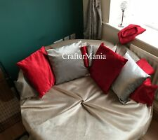 """Cushions Set of 4 Top Quality Plain Velvet Cushion Covers Grey Mink Red 17""""x17"""""""