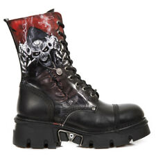 NEW Rock Leather Gothic Metal EBM Army Ranger 10-loch Boots M.newmili10-s7