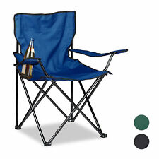 Camping Chair with Backrest, Armrests and Cup Holder, Polyester Folding Chair