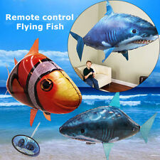 Remote Control Flying Air Shark Toy Clown Fish Balloons Inflatable Drone RC Blue