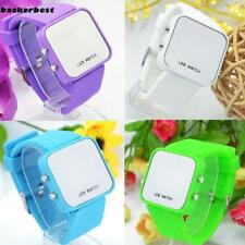 Faceless Mirror Watch Men Lady Sport Digital Date Wrist Watch LED B77K 01