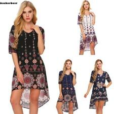 Women Casual Short Sleeve Floral Print V Neck Pullover Asymmetrical Dress LL