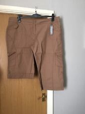 Woman's New Brown Camel Cropped Three Quarter Knee Combat Style Shorts Size 22