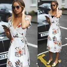 Womens Backless Chiffon Fabric Floral Printed Ruffle Deep V Neck Dress N338