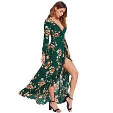 Women Floral Printed Ruffle Decorated V Neck Long Sleeve Maxi Dress M76