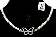 Freshwater Pearl Necklace Bracelet S/Silver Crystal Butterfly & Rhinestone Clasp