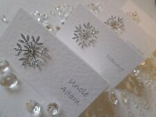 Personalised Christmas / Winter Silver Snowflake Wedding Place Cards
