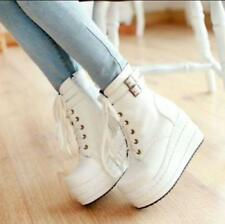 Womens ladies Platform Wedge Heels Lace Up Punk Goth Ankle Boots Shoes Plus Size
