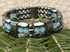Mens Womens Magnetic Hematite Bracelet Anklet Necklace w Pacific Opal Swarovski