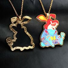 New Women Acrylic Crystal Rabbit Animal Pendant Sweater Animal  Necklace Chain