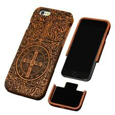 Natural Wood Case For iPhone 7 6 6s Plus SE 5 5s Cover Genuine Real Carving Rose