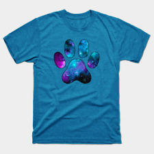 Galactic Paw Print on Turquoise Heather T-shirt Cat Dog Adult S-5XL Shirt Sizes