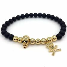 New Design Skull Pave Pirates Pendant Stone Beads Bracelets For Women