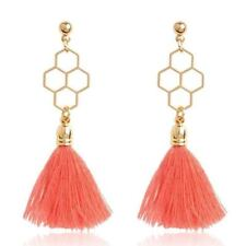 Women Cotton And Silk Material Candy Color Tassel Decorated Earrings B687