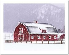 Red Barn In The Snow Art Print Home Decor Wall Art - 3