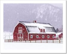 Red Barn In The Snow Art Print Home Decor Wall Art Poster - D
