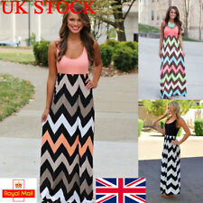 UK Womens Long Maxi Dress Striped Boho Sleeveless Slim Plus Size Gown Party Prom