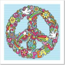 Peace Sign Dove Psychedelic Doodles Art Print Home Decor Wall Art Poster - C