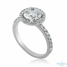 2 Tcw G SI1 Round Cut Halo Diamond Ring 14K White Gold Size 7 Engagement New