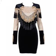 Women Velvet Material Gold Black Color Beading Long Sleeve Bodycon Dress