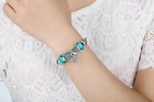 Silver Blue Color Heart Shaped Charm Bracelet Valentine's Day Special