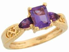 10k or 14k Yellow Gold Amethyst Infinity Design Etched Band Special Ladies Ring