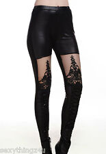 GOTHIK LACE & MESH LEATHER LOOK LEGGINGS Choose From Sizes 8-10-12