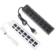 7 Ports High Speed LED USB 2.0 Adapter Hub Power on/off Switch For PC Laptop