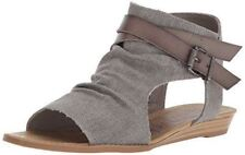 Blowfish Women's Balla Wedge Sandal Grey Canvas Low Wedge Open Toe Sandals