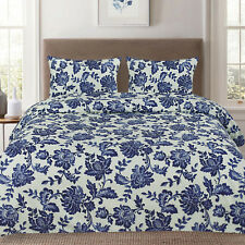 Tuscany Navy Floral Pattern Reversible 3-Piece Duvet Cover Set
