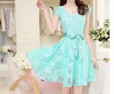 Summer Lace up V-Neck Puff Sleeve Casual Dress For Women Size S-3XL