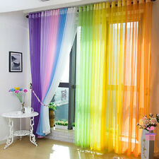 Divider Sheer Curtain Window Curtains Metal Eyelet Voile Panel Valances Scarf US