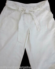 New Womens White Linen NEXT Crop Trousers Size 12 Petite 6