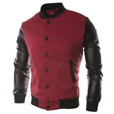 Jaqueta Male Leather Patchwork Hoodies Button Jacket Men'S Bomber Jackets