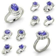 Certified Real AAA Tanzanite & Diamond White Gold Engagement Ring December Stone