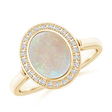 Oval Natural Opal Diamond Halo Engagement Ring 14k Gold Size 3-13