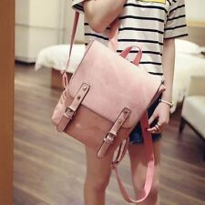 Women Solid Pattern Multi Color Vintage School PU Leather Backpack Q430