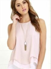 Women Sleeveless Double Layer Round Neck Casual Wear Blouse Top C281