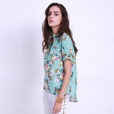Fashion Print Floral V neck Long Sleeve Casual Loose Blouse For Women