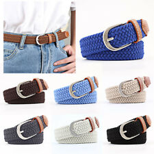 Unisex Stretch Woven Belt Weave Elastic Braided Belt PU Loop Single Prong Buckle