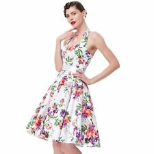 Women Sleeveless Floral Print Party Wear Pinup Swing Knee Length Dress